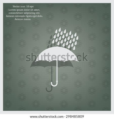 Umbrella and rain drops. Vector illustration