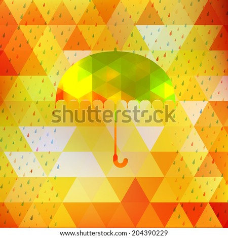 Umbrella and rain drops with abstract geometric shapes. And also includes EPS 10 vector - stock vector