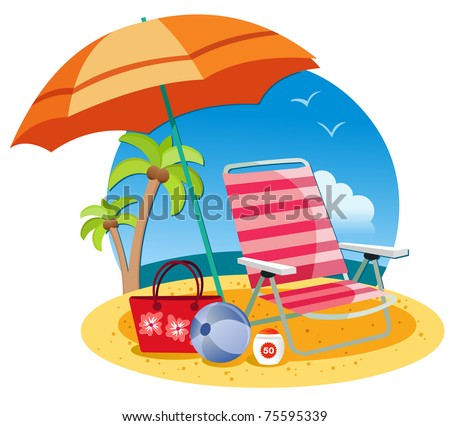 Umbrella, chair, ball and ball on the beach