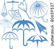 Umbrella Collection - stock vector