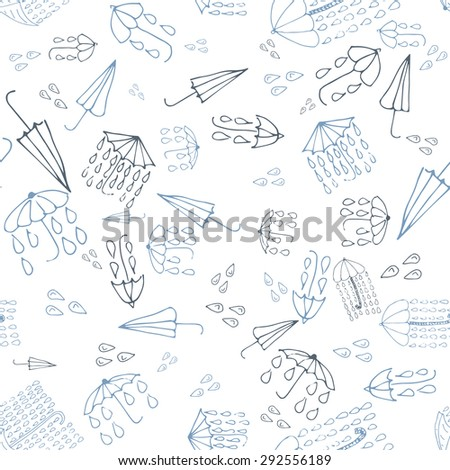 Umbrella doodle seamless pattern, weather collection. Vector illustration