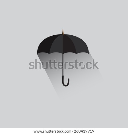 Umbrella flat icon with shadow  - stock vector