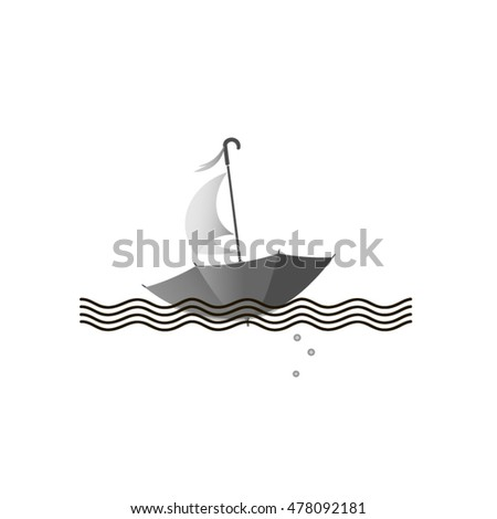 umbrella floats on the waves to sail