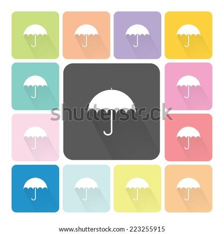 Umbrella Icon color set vector illustration. - stock vector