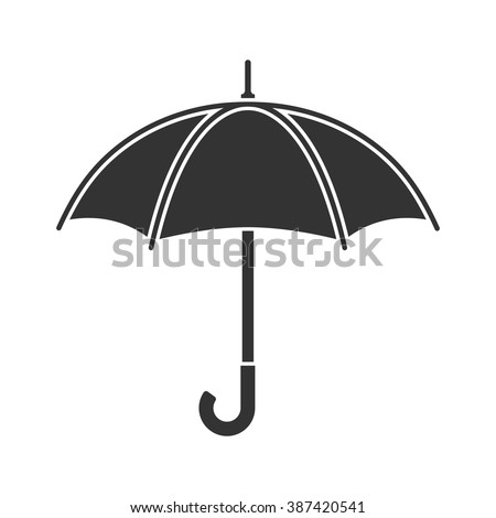 Umbrella icon vector, rain protection. Flat design style. Black umbrella sign on white background. Umbrella isolated. For web design, mobile applications, and printing. Vector illustration.