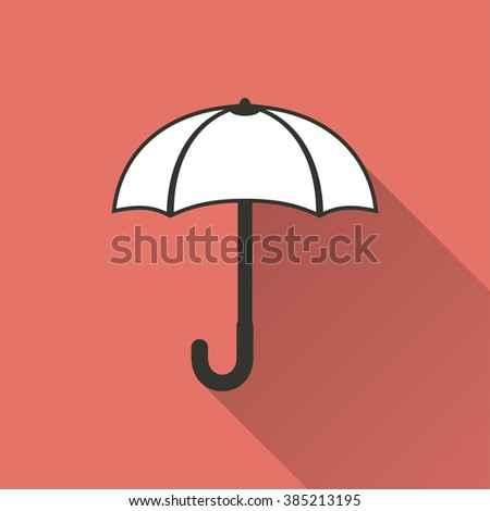 Umbrella   icon with long shadow, flat design. Vector illustration.