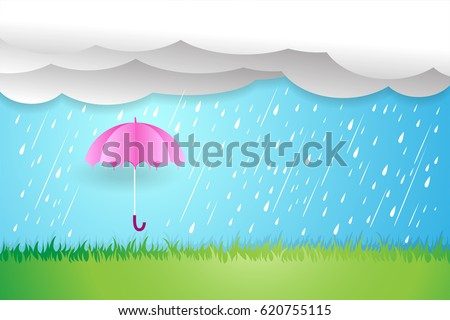 umbrella in rainy season,Rain cloud vector