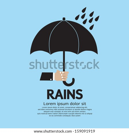 Umbrella in The Rain Vector Illustration EPS10 - stock vector