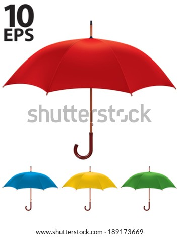 Umbrella isolated. Color Set. Vector illustration  - stock vector