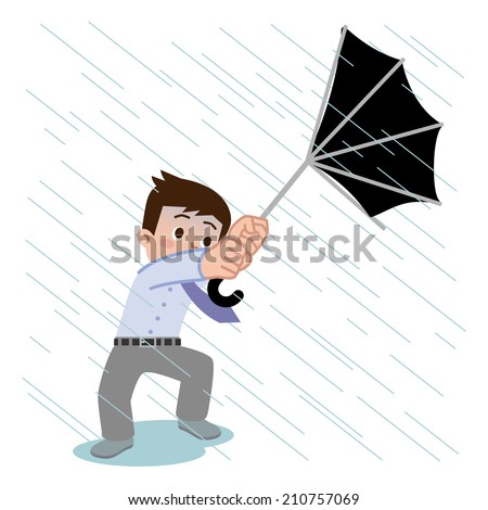Umbrella of the men was broken in gust - stock vector