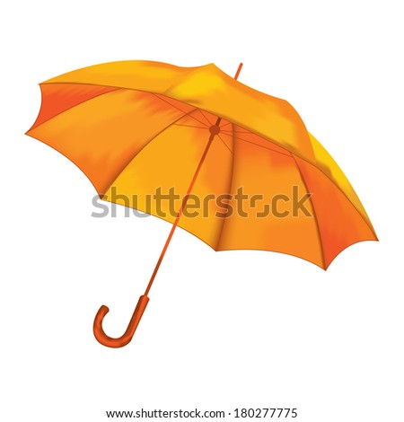 Umbrella on a white background. Vector illustration. Orange. - stock vector