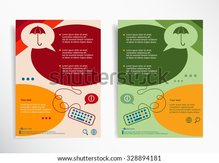 Umbrella on abstract brochure design. Set of corporate business stationery templates. Modern back and front flyer backgrounds.