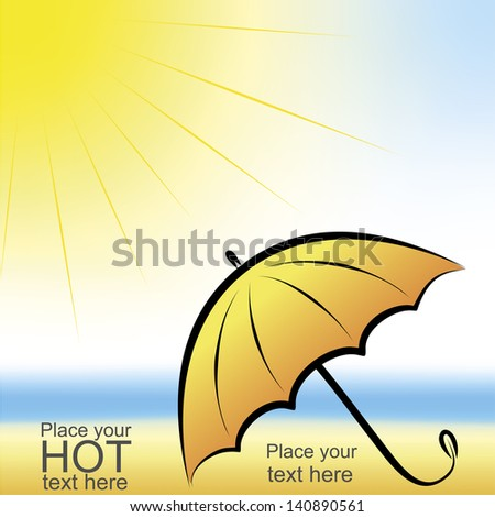 Umbrella on the beach - stock vector