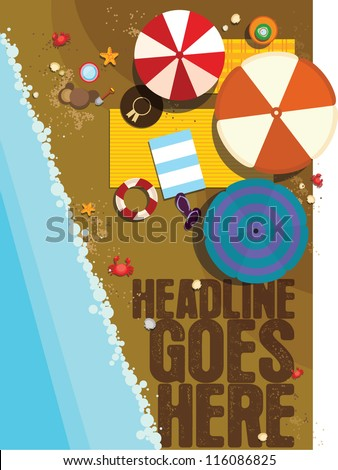 umbrella on the beach/ Vector illustration/ summer - stock vector