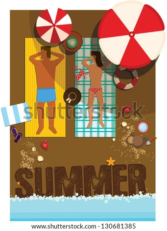umbrella on the beach/ Vector illustration/ summer/ sunbathe/ poster - stock vector