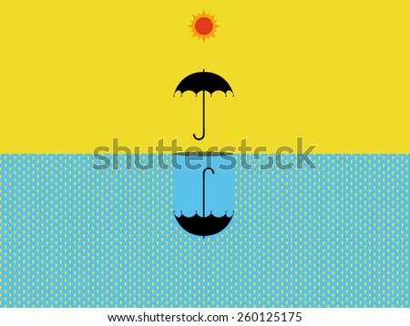 umbrella protect rain sun vector - stock vector