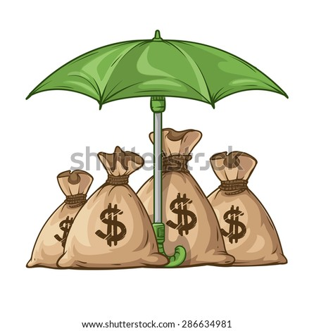 Umbrella protecting sacks with money currency euro. Eps10 vector illustration. Isolated on white background - stock vector