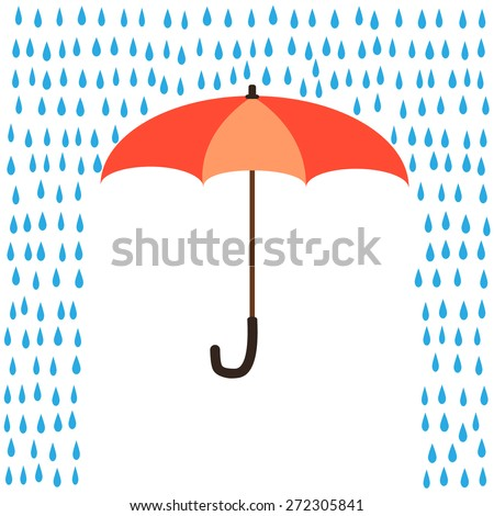 Umbrella protection from rain - stock vector