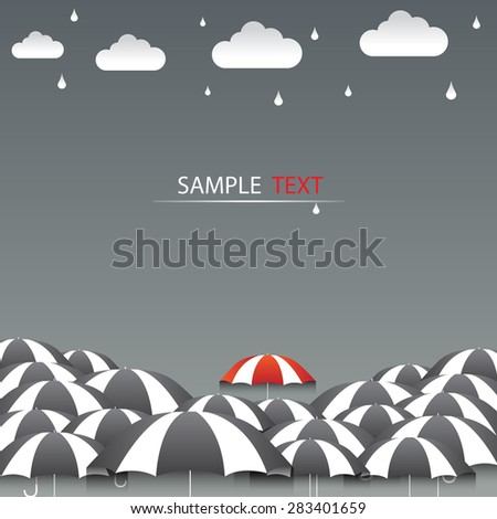 Umbrella red and rain background vector - stock vector