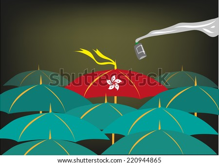Umbrella Revolution protest in Hong Kong - stock vector