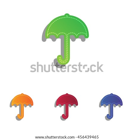 Umbrella sign icon. Rain protection symbol. Flat design style. Colorfull applique icons set. - stock vector