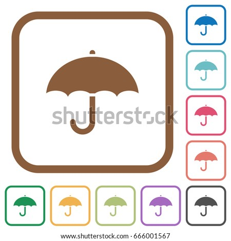 Umbrella Simple Icons Color Rounded Square Stock Vector 666001567 ...