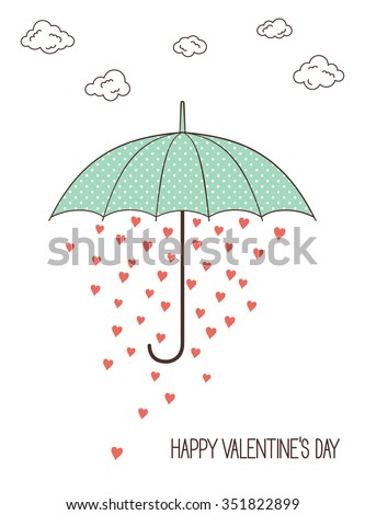 Umbrella with rain of hearts for Valentines Day and love romantic design