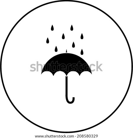 umbrella with rain symbol - stock vector