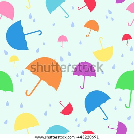 Umbrella with rainy seamless pattern - Vector