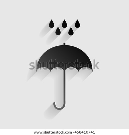 Umbrella with water drops. Rain protection symbol. Flat design style. Black paper with shadow on gray background. - stock vector