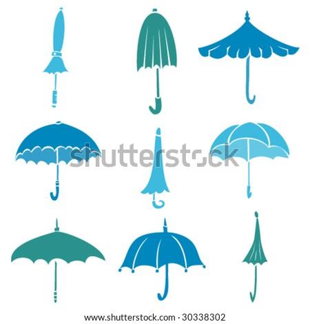 Umbrellas - stock vector