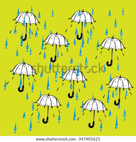 Umbrellas and rain drops vector background