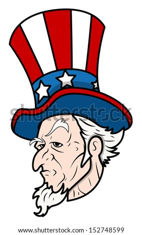 Uncle Sam - Classic Face Vector - stock vector