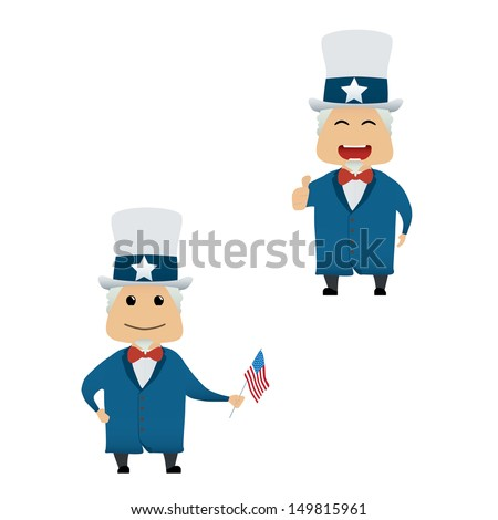 Uncle Sam doing actions collection on white background - stock vector