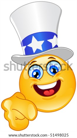Uncle Sam emoticon I want you - stock vector