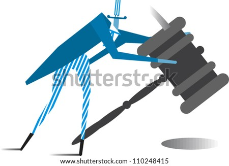 Uncle Sam holding a gavel - stock vector