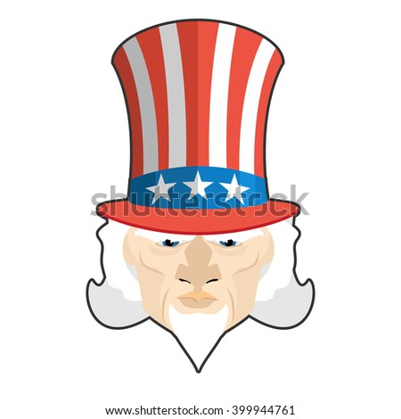 Uncle Sam icon. Patriotic American hero. USA National political figure. Illustration for independence day America - stock vector