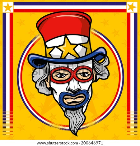 uncle sam masked - stock vector