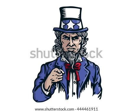 Uncle Sam Patriotic American Caricature - The Super Power Game - stock vector