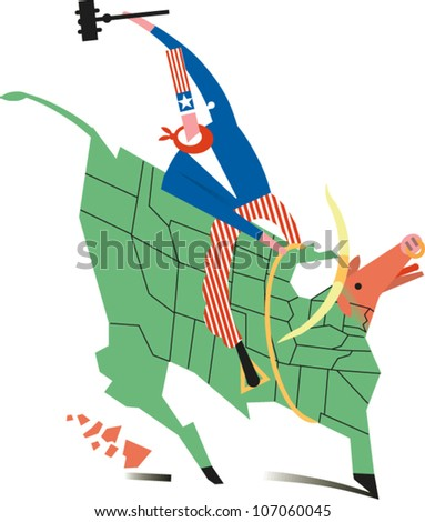 Uncle Sam Rides A Bull In The Shape Of A U S Map While Swinging A Gavel