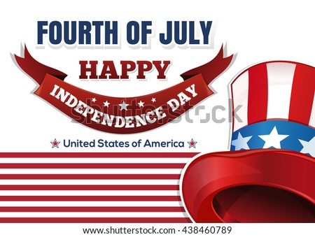 Uncle Sam's hat against the backdrop of the American flag. Fourth of July. Happy Independence Day. Hat in American flag color. Vector illustration - stock vector