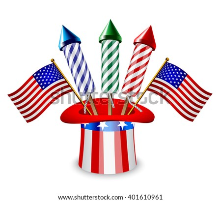 Uncle Sam's hat with three rockets and American flag - stock vector