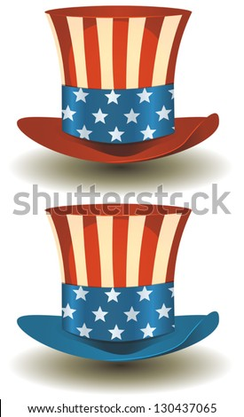 Uncle Sam's Top Hat For American Holidays/ Illustration of a set of two american patriot uncle sam hat with stars and stripes - stock vector