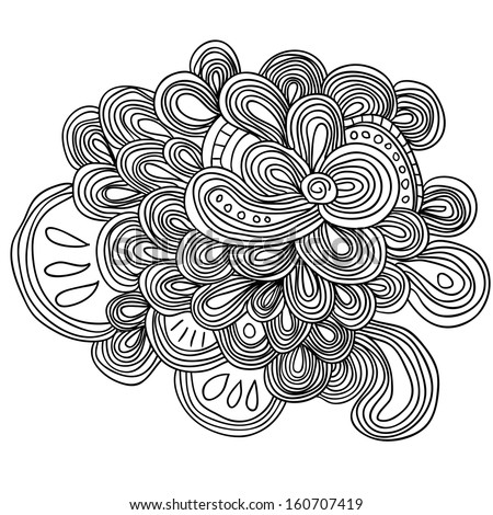 uncolored lined floral pattern with many details. Can be used as coloring page, adult coloring book.