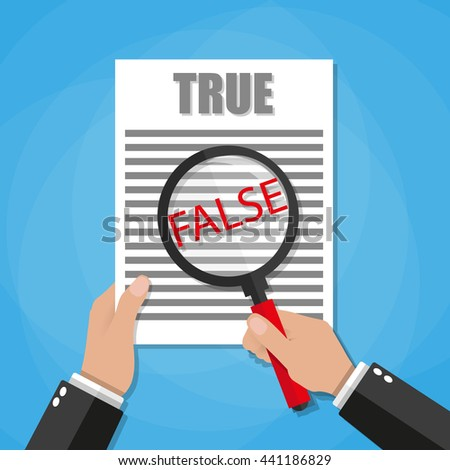 uncover the facts showing through magnifying glass. vector illustration in flat design on green background - stock vector