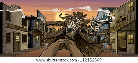 Undead Gunslinger: Town Version Vector illustration of an undead skeleton gunslinger shooting two revolvers in front an old west town with general store, saloon, feed store, hotel, gun shop, etc. - stock vector