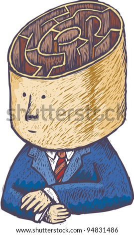 Undecided man with a big labyrinth inside his head in engrave style - stock vector