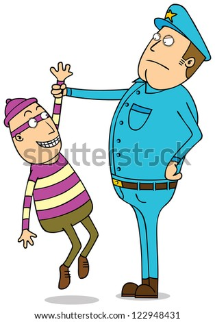 under arrested thief - stock vector