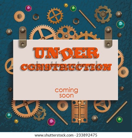 Under construction and coming soon background in style Steampunk with gears and crystals. Vector illustration. - stock vector