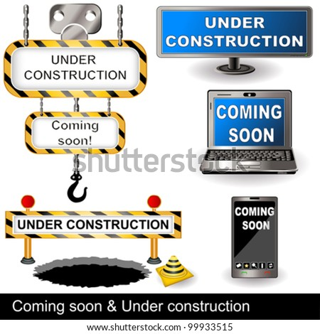 Under construction and coming soon collection - stock vector